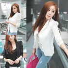 Womens Casual Office Lace Sexy Slim Blazer Suit Jacket Outwear Tops Black White