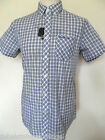 BEN SHERMAN Men's S/S Check Shirt B/D Collar Blue/White King/Plus Sizes:S - XXXL
