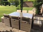 Rattan Cube Set 6/10 Seater  Garden Dining Patio Furniture Aluminium Champagne