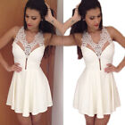 Womens Sexy Lace V-Neck Slim Fashion Bodycon Party Cocktail Evening Mini Dress