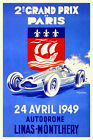 Vintage French Grand Prix Poster 1940s Paris Linas-Montlhéry Motor Racing Retro