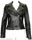 Cheryl Black Ladies Womens Rock Star Keira Knightley Studded Real Leather Jacke