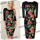 Women Ladies Floral Print Bodycon Stretch Prom Party Cocktail Dresses Size810246