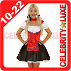 Ladies German Beer Maid Oktoberfest Wench Fancy Dress Costume Black Red White