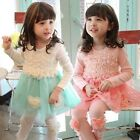 1pcs New Spring summer Girls Lace dress children long sleeve princess dresses