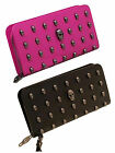 Punk Skull Wallet PU Leather Bag ClutchPouch Card Holders Zipper with Wristlet