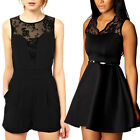 Womens Belted V-Neck Lace Sleeveless Mini Party Skater Dress Jumpsuit Size 6-18