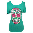 Gypsy Soule Live and Let Live Teal Burnout Tee Shirt GS85