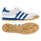 ADIDAS ORIGINALS MENS RETRO ROM WHITE LEATHER TRAINER WITH BLUE STRIPES 7-11