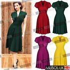 Vintage Style Retro 1940s Shirtwaist Flared Evening Tea Dress Swing Skaters 8-18
