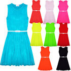 Girls Skater Dress Kids Party Dresses Belted Summer Party Outfit  7-13 Years