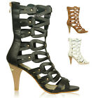 New Womens High Heel Sandals Ladies Gladiator Strappy Cut Out Stiletto Heel Size