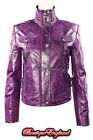 'FUSION' Ladies PURPLE WASHED Short  Biker Motorcycle Style Leather Jacket