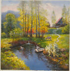 Impressionism Countryside Landscape of Briches Oil on Canvas Paining 30x30inch
