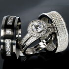 WEDDING RINGS 4 piece Halo Engagement SET CZ 925 Sterling Silver Men's Titanium