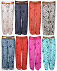 New Womens Italian Alibaba Harem Cuffed Belted Swirl Print Summer Trouser Pants