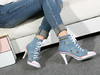 Womens Lace Up Personalised Rivet High Heel Fashion Canvas Sneaker Casual Shoes