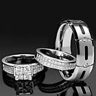 His and Hers Wedding Rings 3 pcs ENGAGEMENT CZ 925 Sterling Silver Titanium SET