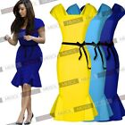 205 New Women's Ladies Peplum Belted Bodycon Pencil Falbala Party Mearmaid Dress