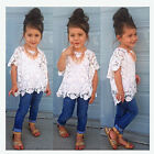 kids baby girl Lace Tops White T-Shirt+Vest+ Denim Jeans Outfit Clothing 3pc/set