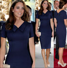 New Womens Slim Fit Short Sleeves Knee-Length V-Neck Princess Kate Pencil Dress