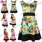 Women Ladies Sleeveless Waist panel Contrast Hem Floral Pleated Skater Top Dress