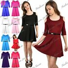 Women Ladies 3/4 Sleeve Cut Shoulder Flared Belted Swing Party Mini Skater Dress