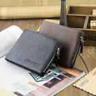 Genuine Leather Mens Wallet Holder Clutch Zipper Coin Purse Retro Style Q