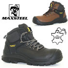 NEW MENS LEATHER SAFETY WORK BOOTS STEEL TOE CAP ANKLE HIKER SHOES SIZE UK 6-12