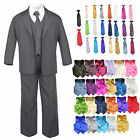 7pc Baby Toddler Kid Formal Wedding Tuxedo Boy Dark Gray Suit Color Vest Tie S-7