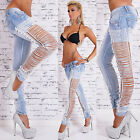 Sexy  Women's Blue Stretchy Jeans Trousers Skinny With Side Laced Strap L 516