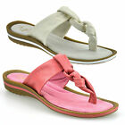 Ladies Womens Low Wedge Heel Leather Sandals Toe Post Flip Flop Mules Shoes Size