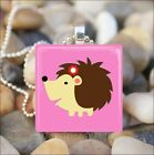"""SWEET HEDGEHOG"" GIRL HEDGEHOG BABY ANIMAL GLASS TILE PENDANT NECKLACE KEYRING"