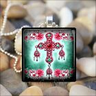 """JEWEL CROSS"" ORTHODOX CRUCIFIX COPTIC CROSS GLASS PENDANT NECKLACE KEYRING"