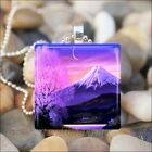 """SUNSET MOUNTAIN"" PINK CHERRY BLOSSOMS NATURE GLASS PENDANT NECKLACE KEYRING"