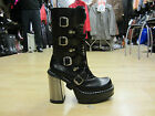 NEW ROCK 9973 BLACK HEEL PATENT MID CALF GOTH ROCK PLATFORM BOOTS UK 3 / EU 36