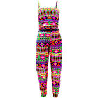 Girls Geometrical Jumpsuit Kids Belted PlaySuit All in One New Age 7-13 Years