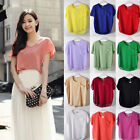 Korean Women Crew Neck Chiffon Bats Sleeve Pocket Casual T-Shirt Blouses Tops WY