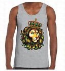 Lion Of Judah Crown Men's Tank Top Animal King Rastafari Reggae Jamaica TankTOP