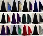 Stock Black Velvet Hooded Cloak Cape Coat Halloween Wedding Shawl 12 Color