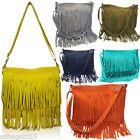 Italian Genuine Real Suede Leather Tassel Celebrity Messenger & Cross Body Bag