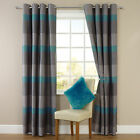 Stripe Jacquard Eyelet Ring Top Readymade Fully Lined Curtains - Teal / Grey