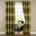 Stripe Jacquard Eyelet Ring Top Readymade Fully Lined Curtains - Green / Natural