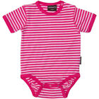 BNWT Baby Girls Maxomorra Cerise and Light Pink Striped Short Sleeved Bodysuit