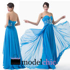 Blue Strapless Jewel Chiffon Prom Bridesmaid Wedding Maxi Dress Size AU6-20