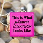 """CANCER SURVIVOR"" CANCER FIGHTER PRIDE GLASS CHARM PENDANT NECKLACE KEYRING"