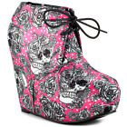 Iron Fist New BRIGHT LIGHT FUCHSIA WEDGE Pumps Bootie Rock Skull Platform Shoes