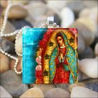 """VIRGIN OF GUADALUPE"" CATHOLIC RELIGIOUS VIRGIN MARY GLASS PENDANT NECKLACE"