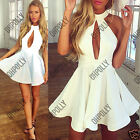 Womens Halterneck Sexy Cut Out White Black Skater Occasion Party Bodycon Dress