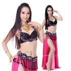 Brand New Professional Belly Dance Costumes Outfit Set 2Pcs Bra Belt 6Colors